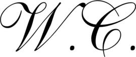 Deursticker met tekst W.C. in krulletters