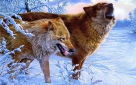 Poster Wilde Wolven in de sneeuw