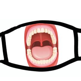 Sublimatie mondkapje met print open mond, in 3 maten