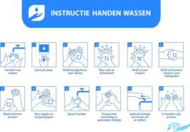 Instructie handen wassen , sticker