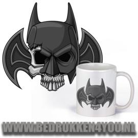 Witte mok - superhero - Batman skull
