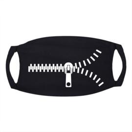 Signs Mondkapje zwart met ritssluiting wit