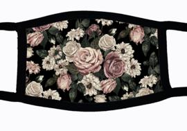 Sublimatie mondkapje met bloemen print, in 3 maten