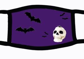 Sublimatie mondkapje Halloween vleermuizen en schedel, paars, in 3 maten