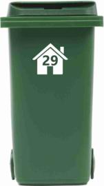 Huisnummer in Huis voor Kliko / mini container