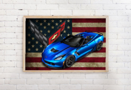 Poster Corvette blauw , exclusief