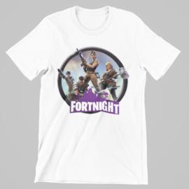 T-shirt wit Fortnite cirkel paars