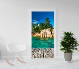 Deurposter - deursticker Tropisch eiland met steiger