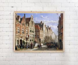 Poster Een drukke straat van Willem Koekkoek
