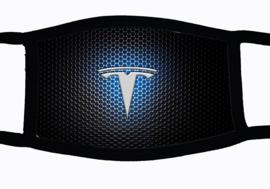Sublimatie mondkapje met Tesla embleem print blue, in 3 maten