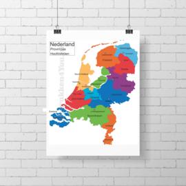Landkaart Nederland - Provincie - Hoofdsteden 60x66