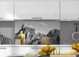 Keuken achterwand sticker Bergtoppen Zwart Wit