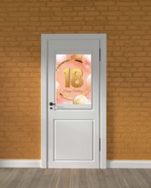 Deurposter - 18 jaar rose-goud - verjaardagssticker