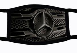 Sublimatie mondkapje met Mercedes gril  print, in 3 maten