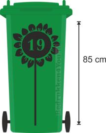 Sticker Kliko container - zonnebloem met huisnummer-85 cm