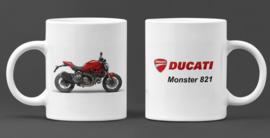 Mok  met afbeelding Ducati Monster 821 -  met tekst