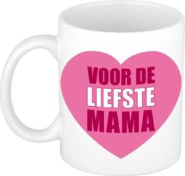 Witte mok - Voor de liefste mama - roze hart / moederdag