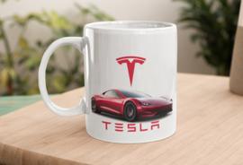 Mok  met afbeelding Tesla rood