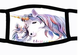 Sublimatie mondkapje Unicorn met veulen, in 3 maten