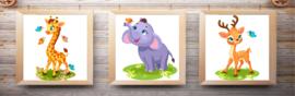 Canvas posters Giraffe-olifant-hert op gras