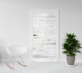 Deurposter - deursticker Houten planken wit