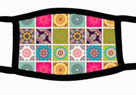 Sublimatie mondkapje met Marokkaanse tegeltjes print, in 3 maten