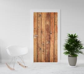 Deurposter - deursticker Houten planken deur verticaal