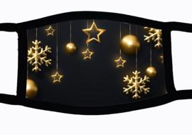 Sublimatie mondkapje Kerst goudversiering, in 3 maten