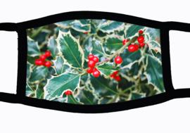 Sublimatie mondkapje Kerst Hulst, in 3 maten