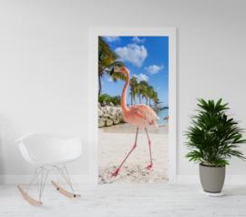 Deurposter - deursticker Flamingo - tropisch