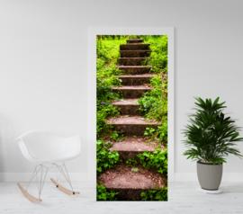 Deurposter - deursticker Trap van steen met vegetatie