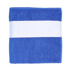 Handdoek blauw met eigen print of tekst