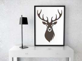 Poster   Silhouet Hert - bruin