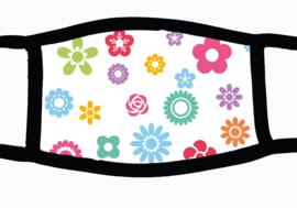 Sublimatie mondkapje met vrolijke bloemetjes print, in 3 maten