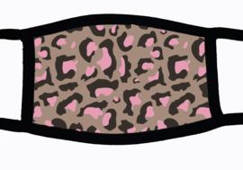 Sublimatie mondkapje met Panter print roze grijs print, in 3 maten