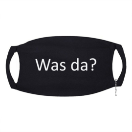 "Signs Mondkapje in zwart met tekst ""Was da?"""