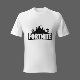 T-shirt met Fortnite. Wit met zwarte opdruk. Alle maten 1 prijs!