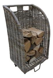 Rieten houtmand verrijdbaar (op wielen)