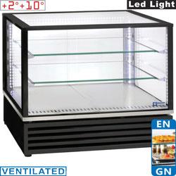 """VRDP-B1 - Panoramisch gekoelde vitrine, EN of GN """"Tafel-Top"""", geventileerd, 3 niveaus, ZWART"""