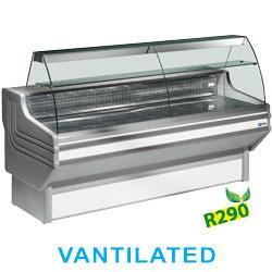 JY20/A1-VV/R2 - Gekoelde vitrinetoonbank geventileerd met gebogen ruiten, met reserve DIAMOND