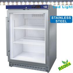 PV200X/G-R6 - Koelkast geventileerd, glazen deur, 150 liter. R.V.S. DIAMOND JUMBO LINE