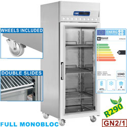 ID70G/R2 - Geventileerde koelkast 700 liter, 1 glazen deur (GN 2/1), op wielen DIAMOND