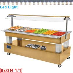 BSB/6N-D1 - Buffet - Salade bar, gekoeld, 6x GN 1/1-150 (Licht eiken hout) mm (BxDxH) : 2070x660(950)xh1370 DIAMOND
