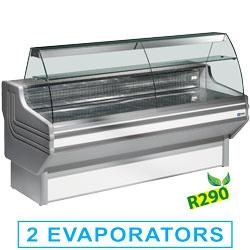 JY20/A1-R2 - Gekoelde vitrinetoonbank met gebogen ruiten, met reserve mm (BxDxH) : 2000x930xh1270 DIAMOND