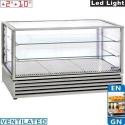 """KHVRDG-X2 - Panoramisch gekoelde vitrine, EN of GN """"Tafel-Top"""", geventileerd, 3 niveaus, INOX - Panoramic Line"""
