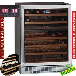 WCB/16-X2 - Wijnkast vitrine, geventileerd, 160 Lt., 2temperaturen, BLACK DIAMOND