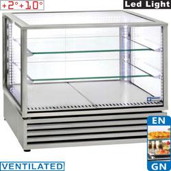 """VRDP-X2 - Geventileerde panoramische gekoelde vitrine, EN of GN """"Tafel-Top"""", 3 niveaus, INOX"""