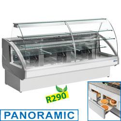 UT22/D6-R2 +- Gekoelde vitrinetoonbank, statisch, ladensysteem, zonder reserve V - GRIJS/WIT DIAMOND   mm (BxDxH) : 2200x980xh1237