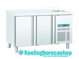 EURO SNE/2 - Geventileerde koelwerkbank 2 deuren met spoelbak TOPCOLD EURO LINE 60  Afmetingen: (L) 1492 X (B) 600 X (H) 850