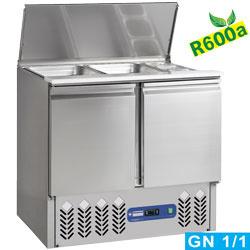 SAL2M/R6 - Gekoelde saladette met deksel 2x GN 1/1 + 3x GN 1/6 - 150 mm, reseve 2 deuren GN 1/1, 240 Lit DIAMOND